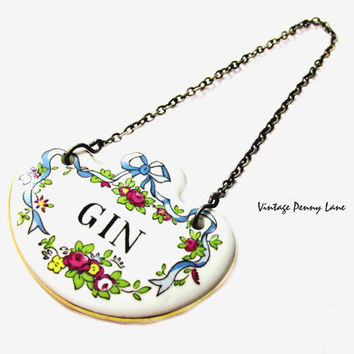 Staffordshire Porcelain GIN Liquor Tag, Decanter Bottle Label