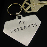 Superman SUPER HERO Keychain Fob Custom Hand Stamped Aluminum Father Dad Husband Mens Key Chain, Forever My Superman Superhero
