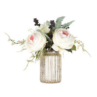 Cream Cabbage Rose & Berry Arrangement in Mercury Glass Pot | Hobby Lobby | 1220755