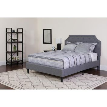 Brighton Full Size Tufted Upholstered Platform Bed in Light Gray Fabric with Pocket Spring Mattress [SL-BM-10-GG]