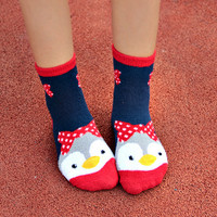 Cute Colorful Penguin Fleece Socks Set (5 pairs)