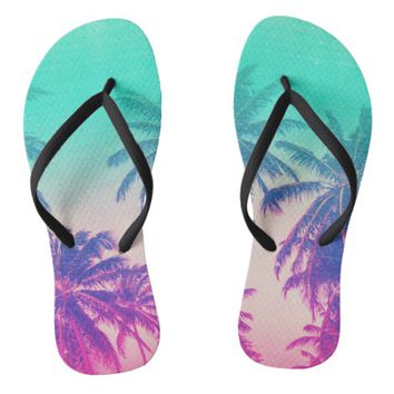 Girly Cute Pink Turquoise Ombre Tropical Palm Tree Flip Flops