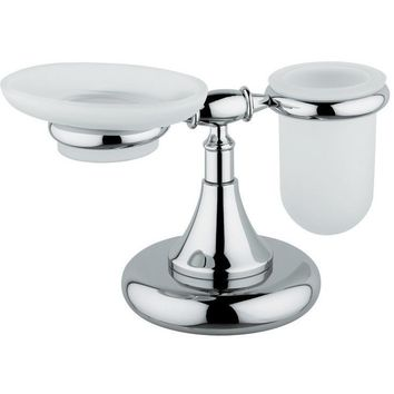 BA Tempo Bathroom Frosted Glass Soap Dish Holder & Tumbler Set- Brass