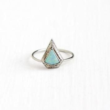 DCKL9 Vintage 10k White Gold Opal Stick Pin Conversion Ring - Antique 1920s Size 6 Art Deco