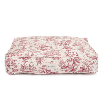 Personalized Toile Rectangle Dog Bed| Red