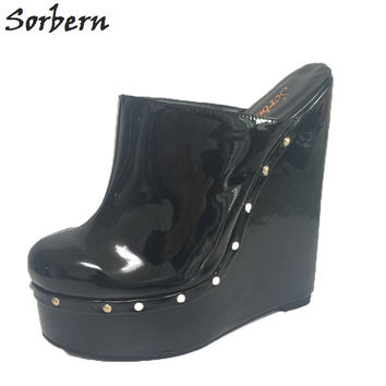 Sorbern Black Patent Leather Pointed Toe Women Pump Shoes Platform Wedge High Heels Mules Ladies Wedges Shoes For Women