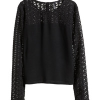 H&M - Embroidered Mesh Blouse - Black - Ladies