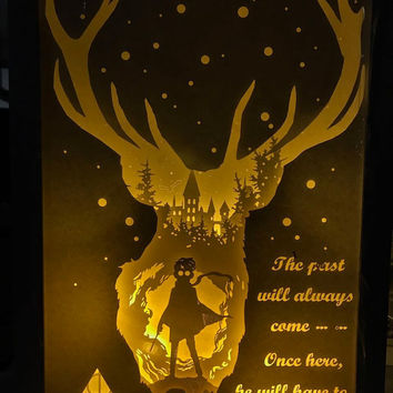 Harry potter paper cut Light box Night light night lamp birthday gift idea 3D shadow box kids baby nursery room art
