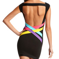 Charlotte Russe - Pop Color Open-Back Dress