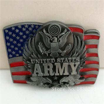 Retail New Style United States ARMY Belt Buckles With American Flag Silver Eagle Metal Cowboy Belt Head Fit 4cm Wide Belt