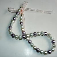 Elegant Pearl and Ribbon Beaded Necklace