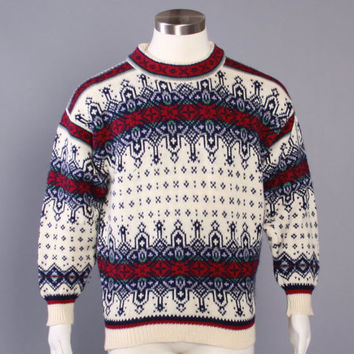 80s NORDIC SKI SWEATER / 1980s Norwegian Wool Pullover L