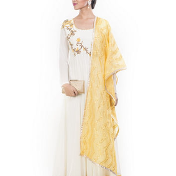 OffWhite & Yellow Anarkali Suit Set