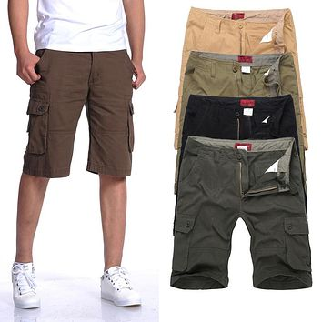 Mens Khaki Casual Cargo Shorts