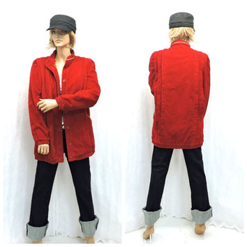 Vintage 70s cherry red corduroy baseball style jacket S / M 1970s retro warm red oversized cord coat quilted lining  SunnyBohoVintage