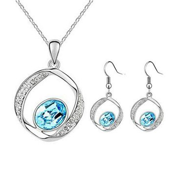 Austrian Crystal silver color female jewellery set of blue wedding jewerly sets for women Jewelry sets of african