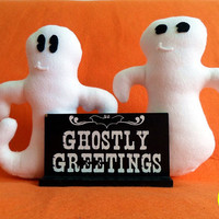 Pair of Handmade Ghost Plushies (small sized plush ghosts made of felt)