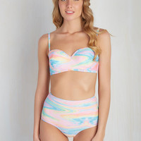 On a Tide Note Swimsuit Top in Psychedelic | Mod Retro Vintage Bathing Suits | ModCloth.com