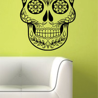 Extra Large Sugar Skull  Version 7 Wall Vinyl Decal Sticker Art Graphic Sticker Sugarskull