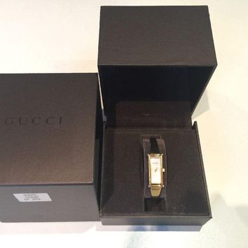 Gucci Women's Gold Bangle Bracelet Swiss Mother-of-Pearl Analogue Watch 1500L