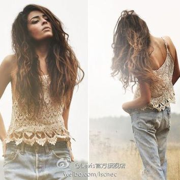 VINTAGE HIPPIE BOHO  Casual Loose Lace Vest Shirt Hollow Tops