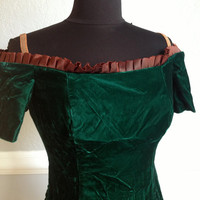Green Velvet Steampunk Edwardian Victorian Dress - Off the Shoulder Ruffle - Fitted - Renditions New York
