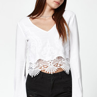 Kendall and Kylie Crochet Embroidered Long Sleeve Top at PacSun.com