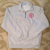 Monogrammed 1/4 Zip Sweatshirt by BabyduckDesign on Etsy