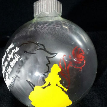 Beauty and the Beast Ornament - Belle - Beast - Belle and the Beast -  Personalized Ornament - Christmas Ornament