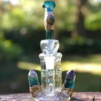 'Water Pipe: Rainbow Fluorite + Tiger Eye