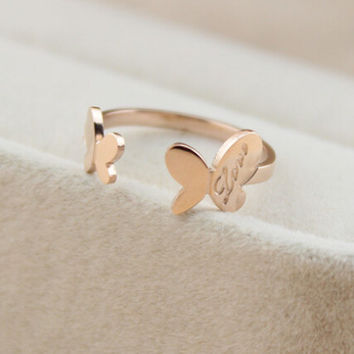 womens retro butterfly-shaped rose gold ring tail ring gift-144