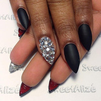 Hand painted matte black and red gel nails • press on nails • fake nails • nails • gels • press ons • false nails •