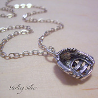 Softball Baseball Glove Charm Necklace  by MadisonCraftStudio
