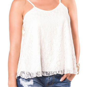 Sophie Lace Swing Camisole Top in Cream