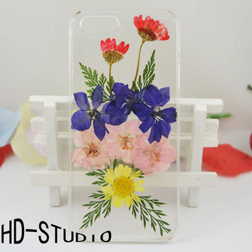 Pressed flower iphone 5 case, real flower iphone 6/6s Plus case, pressed flower iphone 5 /5c / 4 case - pink and purple larkspur
