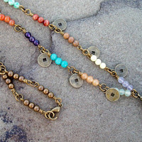 China Belle - Mixed Gemstone Antiqued brass link necklace with Coin charms and Bell Pendant