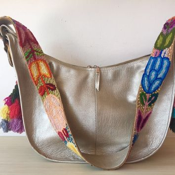 Mexican Designer Leather Bag Wool Embroidery Silver