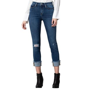 Vervet by Flying Monkey Women's High Rise Cuffed Slim Straight Jeans