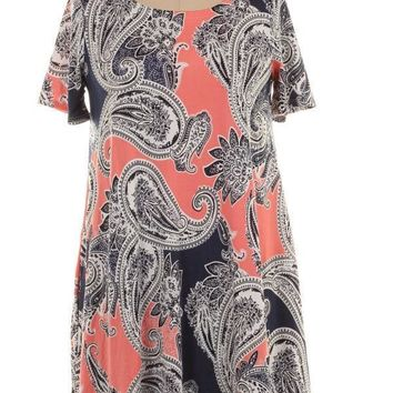 (pre-order) Coral Paisley Summer Dress
