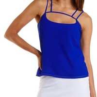 Blue Strappy Caged Swing Tank Top by Charlotte Russe