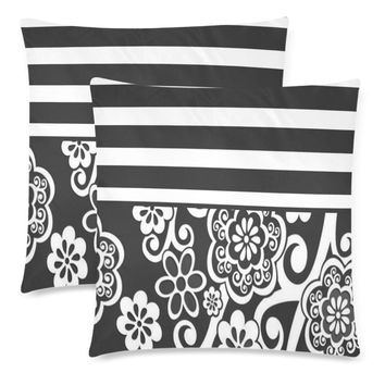 """Gray Floral Throw Pillow Covers 18""""x 18"""" (Set of 2)"""