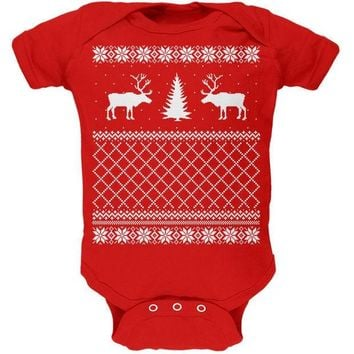 CREYCY8 Reindeer Caribou Ugly Christmas Sweater Red Soft Baby One Piece