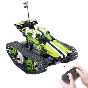 Electric RC Car, Off Road Remote Control Track Vehicle STEM Toy,426 Pieces Building Blocks