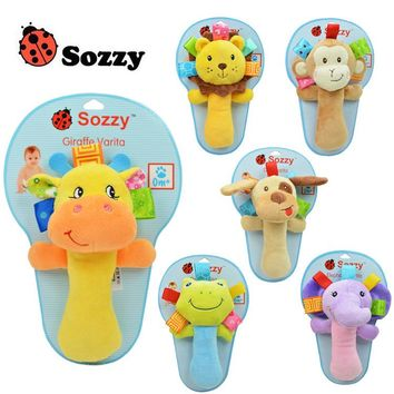 SOZZY 18.5cm Baby Rattle Stick Teether Stuffed Plush Doll Bibi BB Sound Toy Toys Puzzle Bell Ring Infant Puppet Frog Soft Gift