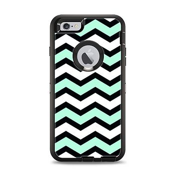 The Teal & Black Wide Chevron Pattern Apple iPhone 6 Plus Otterbox Defender Case Skin Set