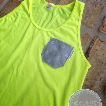 Neon Yellow Anchor Pocket Tank
