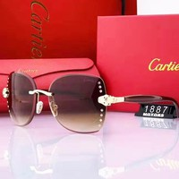 Cartier Popular Women Delicate Diamond Summer Sun Shades Eyeglasses Glasses Sunglasses