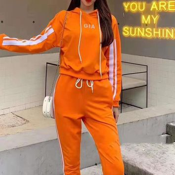 Woman Leisure Fashion Wild Letter Printing Zipper Hooded   Spell Color Long Sleeve Tops Elastic Band Trousers Two-Piece Set Casual Wear