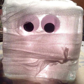 Mummy Lighted Glass Block, Halloween Decor