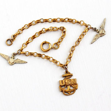 Vintage Brass & Sterling Silver United States Navy Charm Bracelet - 1940s WWII USN Anchor Eagle Rope Emblem Crest Pendant Military Jewelry